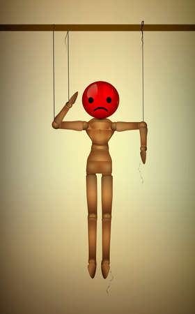 angry, disappointed mood concept, realistic wooden marionette hanging with red angry disappointed face instead of head, vector