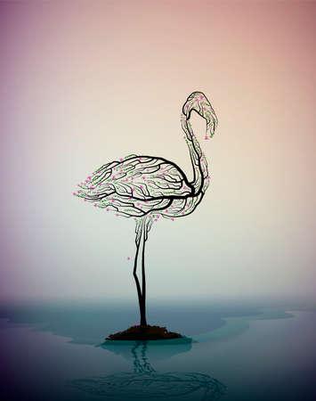flamingo bird look like tree branches, protect the birds, birds extinction concept, vector