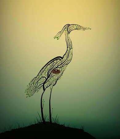 Heron bird look like tree branches with the bird nest inside, protect the birds and forest, protect the swamp, vector 일러스트