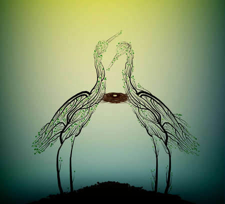 Birds extinction concept, spirit of dying birds due the forest extinction, Two heron bird look like tree branches with the bird nest inside, protect the birds and forest, vector Stock Illustratie