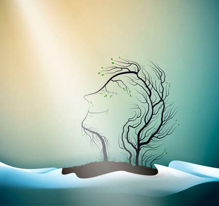 first ray of spring sun concept, tree looks like men head, spring portrait of forest spirit, tree s dream, vector