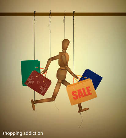 shopping addiction concept, marionette runs and holds many shopping bags, modern man addiction series, vector