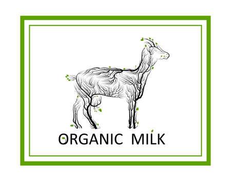 organic milk concept, eco farm production idea, goat like tree on white background, green eco milk product idea, eco production,