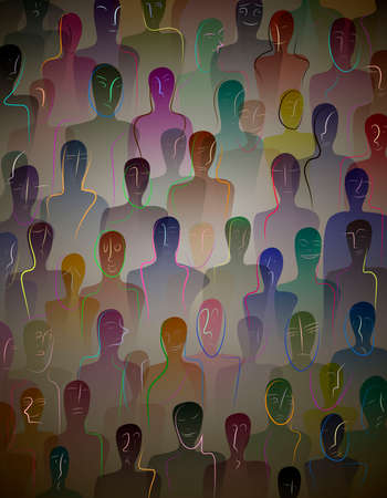 many people, crowd concept, color of inner world of each person, vector Vettoriali