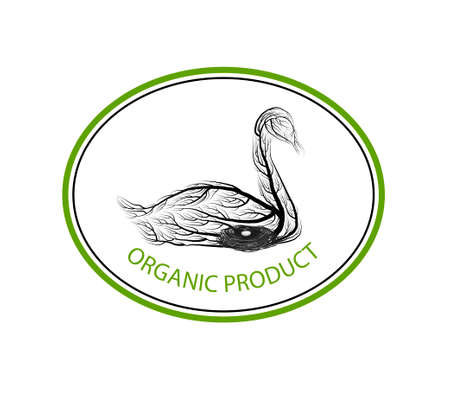 ecological product concept, goose like tree on white background, green eco product idea, eco production, vector 스톡 콘텐츠 - 125937607