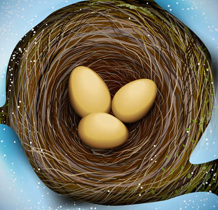 realistic bird s nest with three eggs, Easter in nature, vector Stock Illustratie