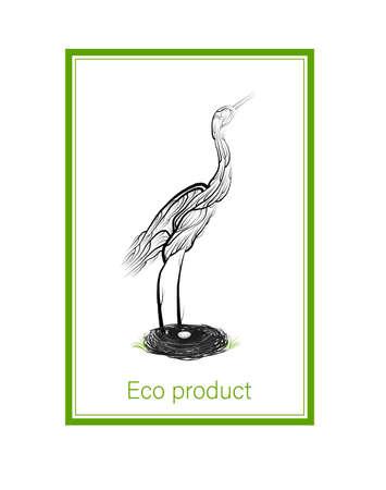 Öko-Produktkonzept, Kran wie Baum mit Nest und Ei, grüne Öko-Produktidee, Öko-Produktion, Vektor
