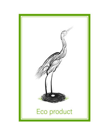 eco product concept, crane like tree with nest and egg, green eco product idea, eco production, vector 일러스트
