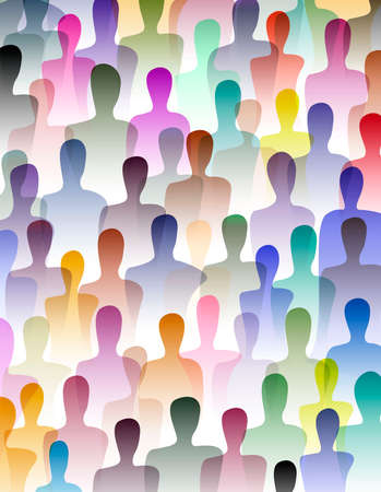 many people, crowd concept, color of inner world of each person, vector 스톡 콘텐츠 - 125887907