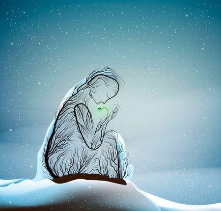 tree silhouette like a woman holding green sprout, first spring sprout in cold winter weather, tree alive idea, vector