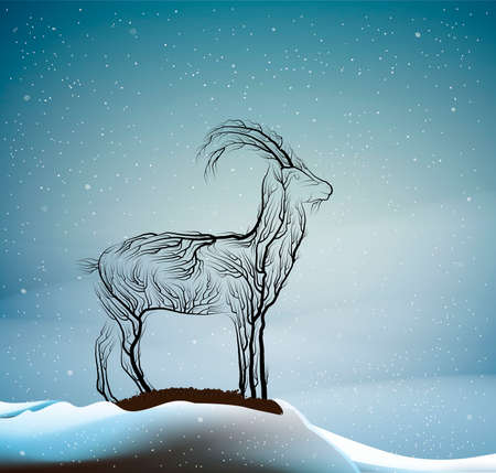 wild goat extinction concept, spirit of dying animal due the forest extinction, goat look like tree branches in the winter forest, protect the animal and forest, vector 일러스트