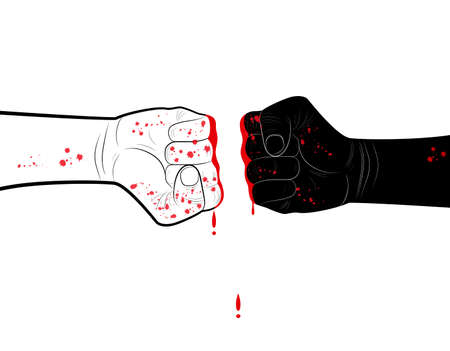 stop racism concept, two hands black and white with blood blots,conflict concept, vector