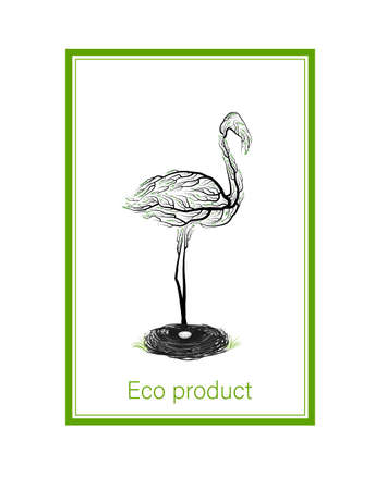 ecological product concept, flamingo like tree on white background, green eco product idea, eco production, vector