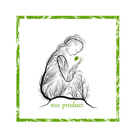 eco product concept, woman like tree holding green leaf sprout, green product eco care idea, vector