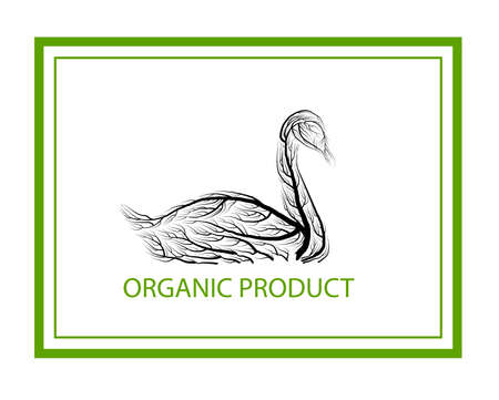 ecological product concept, goose like tree on white background, green eco product idea, eco production, vector