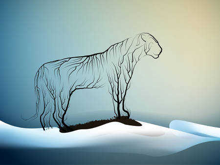 tiger extinction concept, spirit of dying tigers due the climate change, tiger look like tree branches, protect the animal and forest, vector Stock Illustratie