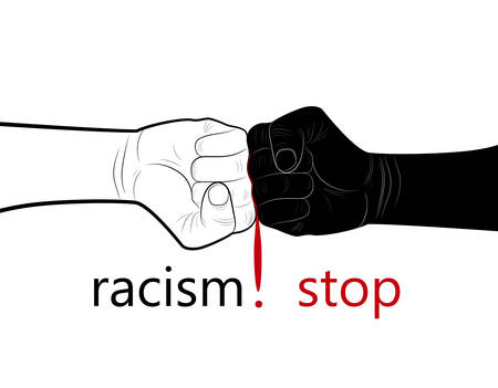 stop racism concept, two hands black and white and blood drop in the middle with text stop racism, minimalist poster, vector Stock Vector - 125828638