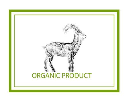 organic product concept, goat like tree on white background, green eco product idea, eco production, Ilustração