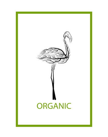 ecological product concept, flamingo like tree on white background, green eco product idea, eco production, vector 스톡 콘텐츠 - 125828640