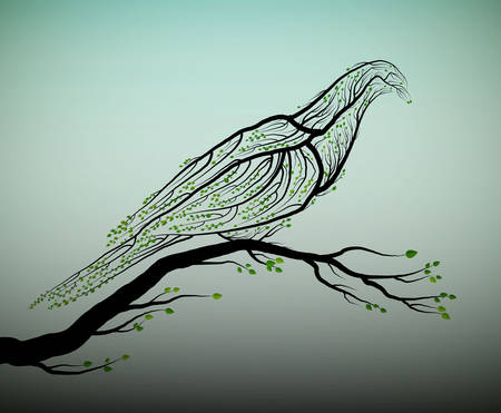 pigeon bird look like tree branches with green leaves, Çizim