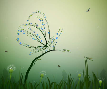 spirit of summer concept, butterfly looks like tree branches with flowers forget me not, grass, leaves, dandelions, summer composition, vector
