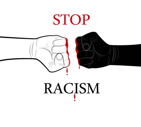 stop racism concept, two hands black and white and blood drop in the middle with text stop racism, minimalist poster, vector Stock Illustratie