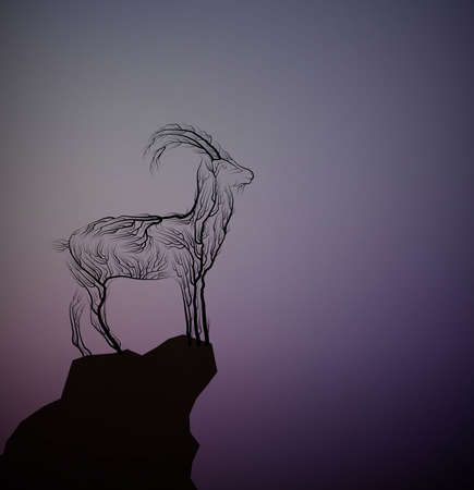 Goat look like tree branches on the top of the mountain rock, vector