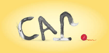creative text cat with funny fluffy spot letters ears, tail, paws and red ball of yarn on yellow background, vector Stock Illustratie