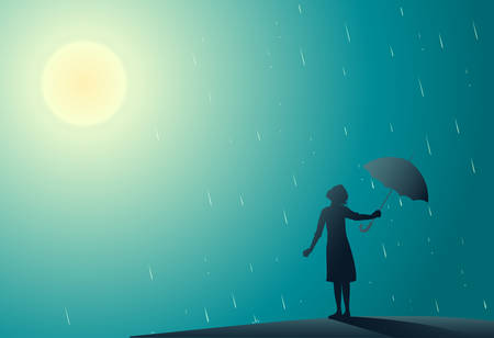 Young girl standing in the rain pulls aside umbrella to look at bright sun, rain is over Vectores