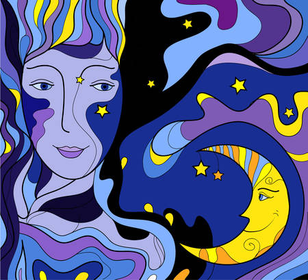 night face looks at the moon and smile, night fairytale, woman face look at the moon and smile, night color, vector