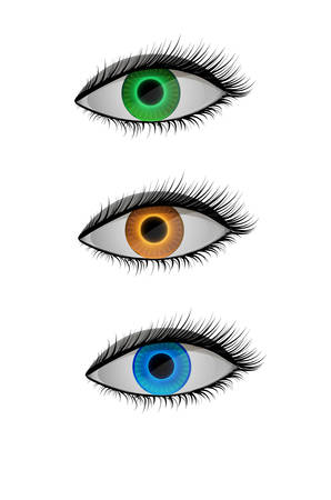 colored contact lenses, blue, orange and green eyes, vector