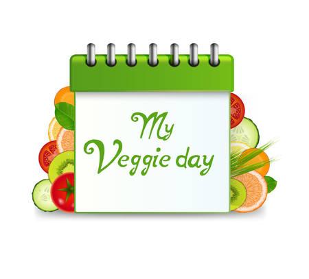 veggie organizer, vegetarian day in calendar, veggie day, vegetables carrot, tomatoes and cucumber, kiwi, orange, green onion and inscription my veggie day, vector