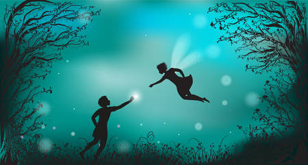 deep fairy forest silhouette at night with fairy girl and boy giving the lantern, fireflies, scene