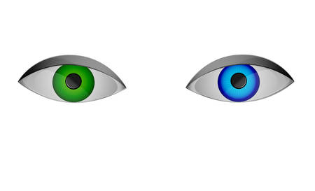 colored optic lenses, blue and green eyes, color of view, vector