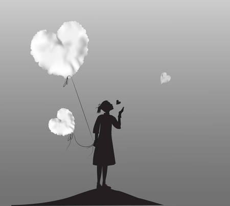young girl holding the white cloud heart, Valentines day, romantic time in dreamland, black and white, vector