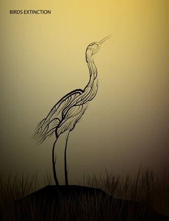 birds extinction concept, Heron bird look like tree branches on the drought land, protect the birds and forest, protect the swamp, vector