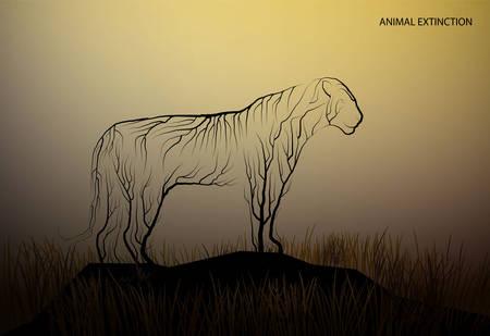 tiger looks like tree branches, spirit of extinct animal, extinct animal concept, vector
