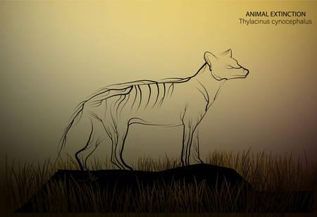 marsupial wolf looks like tree branches, spirit of extinct animal, extinct animal of Australia, vector Stock Illustratie