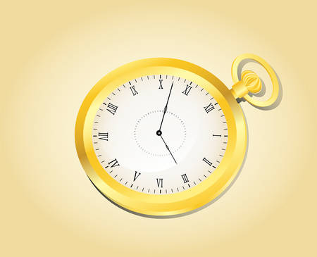golden old fashioned watch on yellow background, vector