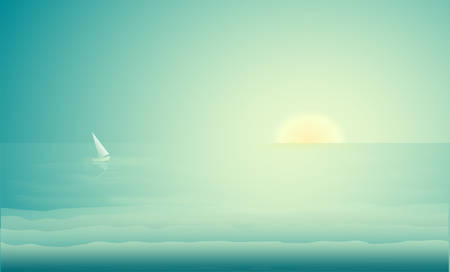 sea landscape with sail boat, sea sunrise, sea early morning, vector Foto de archivo - 124954281