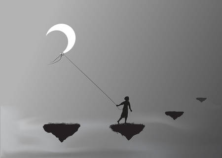 boy pulling the moon and walking on a flying rock, steal the moon, wonderland, dream, shadows