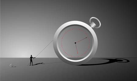 manage the time, ring watch and small man with stick and long shadows, surrealism clock, change the time dreams, vector Illustration