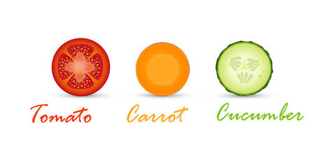 vegetarian color, vegetarian traffic light, tomato, cucumber and carrot slices, vector Illustration