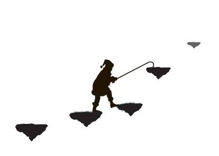 long fairy way to wonderland, silhouette, dwarf on flying rock Standard-Bild - 124783543