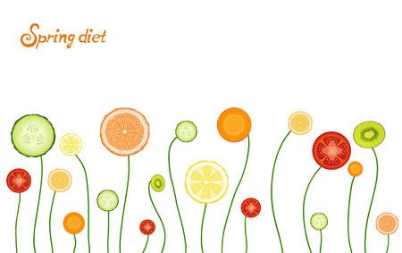spring healthy food concept, vegetables and fruit looks like spring flowers, spring veggie diet idea, vector.