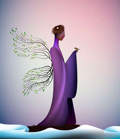 beautiful spring new look idea, New contemporary spring, spring fantasy icon fantastic spring angel, silhouette of angel on the melting snow and holding the bird, vector