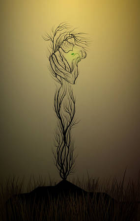 tree silhouette like a woman in the desert, tree looks like a woman holding the last green leaves, drought and tree, dry land idea, tree alive idea, vector