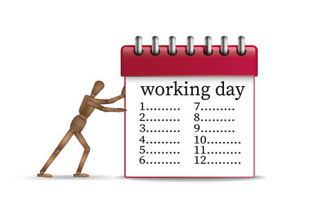 hard working day concept, office worker marionette pushing the red organizer with long timetable, vector