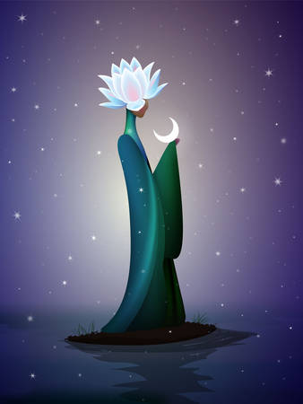 beautiful night fairy, sping fairy, fantastic river fairy, silhouette of woman with lily flower on the head top on the river and the moon, vector Vector Illustratie