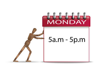 hard working day concept, office worker marionette pushing the red monday organizer with working hours schedule, vector